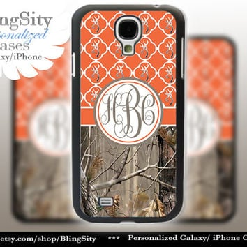 Monogram Galaxy S4 case S5 Real Tree Camo Orange Browning Quatrefoil Personalized RealTree Samsung Galaxy S3 Case Note 2 3 Cover