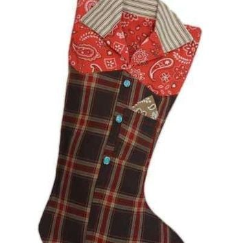 Canvas Faux Wool Plaid Red Bandana Western Shirt Christmas Stocking, Red Cream