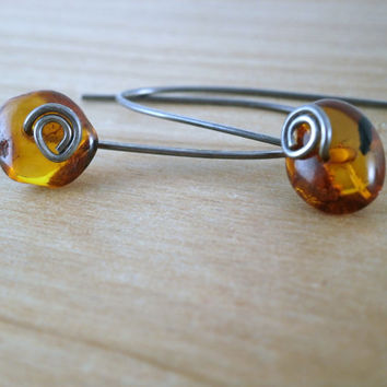 Baltic Amber Earrings Oxidized Sterling Silver Orange Dangle Earrings Baltic Amber Jewelry Long Silver Earrings Antiqued Silver Jewelry