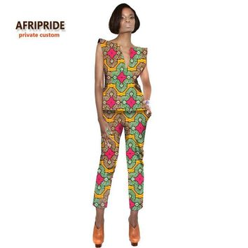 Capped traditional casual two-piece Ankara suit