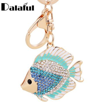 Dalaful High Quality Fish Shape Key Chains Rings Holder Crystal Goldfish Bag Pendant For Car Rhinestone Keyrings KeyChains K267