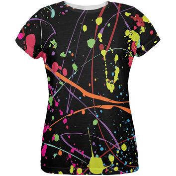 Splatter Paint Black All Over Womens T-Shirt