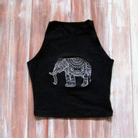 Elephant Black Crop Top-Boho Crop Top-Yoga Top-Workout Crop Top-Mandala Elephant-American Apparel