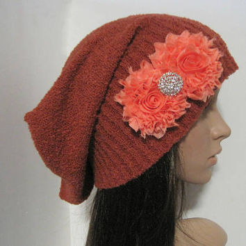 Rust Recycled Sweater Slouch Beanie With Peach Chiffon Flowers and Rhinestone Accents Winter Hats Sweater Hats Accessories
