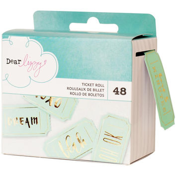 Dear Lizzy Ticket Roll -Documentary Collection; 48 Unique Gold Foil 'Aqua-Mint' Tickets