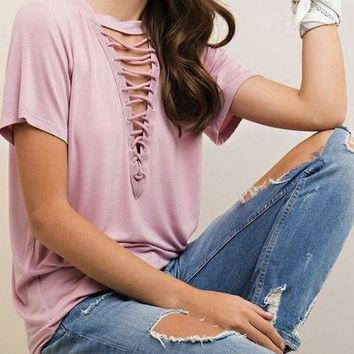Front Lace Up T-Shirt - Dusty Rose