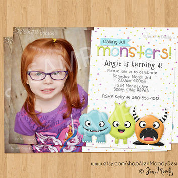 Monsters Birthday Invite, Cute Party Invitation with Photo - Printable, Digital, Custom, Scary, Horns, Silly, Picture