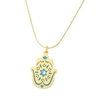 Small Gold Plated Israel Hamsa Necklace