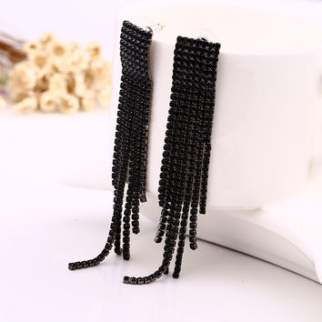 Black Full Rhinestone Vintage Tassel Earrings Drop Earring Quality Earrings For Women Luxury Jewelry Long Dangle Earring #E019