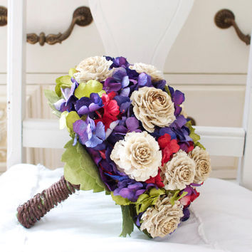 Retro red, green and purple wedding bouquet, Paper Hydrangea and wood roses tied with vine wire