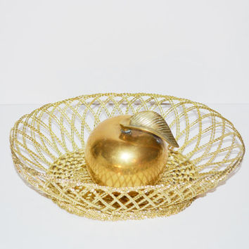 Vintage Gold Basket Decorative Gold Metal Basket Wire Basket Fruit Basket Bathroom Vanity Dish Bread Basket