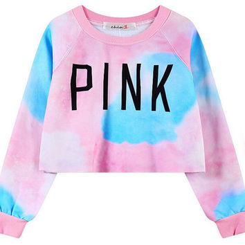 Galaxy Tie-dye Cropped T-Shirt with Long Sleeve