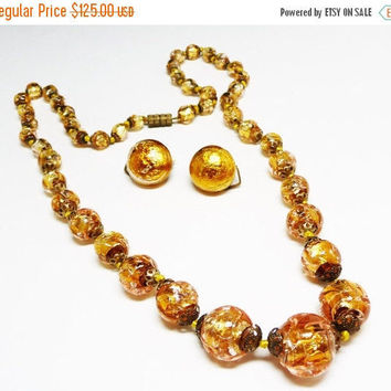 Gold Venetian Glass Beaded Necklace - Goldtone Beads Matching Choker & Earrings Signed Italy - Vintage 1940's - 1950's Mid Century Set