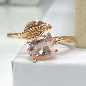 NEW DESIGN!Morganite Engagement Ring 14K Rose Gold!Diamond Wedding Bridal Ring,6x8mm Oval Cut,Unique Leaf,Can handmade matching band,Promise