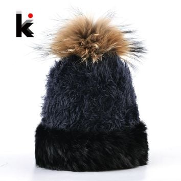 Real Rabbit Fur Knitted Beanies Hat Women Autumn Winter Knit Solid Color Fluffy Hats With Fur Pompoms Ball Skullies Caps Ladies