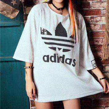 DCCKXT7 Adidas' Fashion Clover Letter Sequin Medium Long Section Middle Sleeve T-shirt Mini Dress