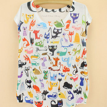 Summer Cats Pattern Print Short Sleeve Round-neck T-shirts [6047437313]