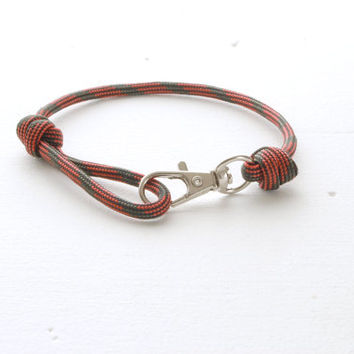 Clasp Bracelet - Red Black Rope Knotted Bracelet - Mens Paracord Bracelet - Single Wrap Bracelet - Silver Fish Hook Paracord