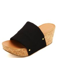 Single Band Stretchy Slide Wedges by Charlotte Russe - Black