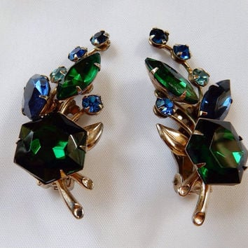 Rhinestone Jewelry Beau Jewels Rhinestone Climber Earrings 1950s Chic Mid Century Glamour