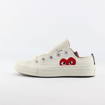 CDG Play x Converse Chuck Taylor 1970s Low Top White Canvas Sneakers - Best Deal Online
