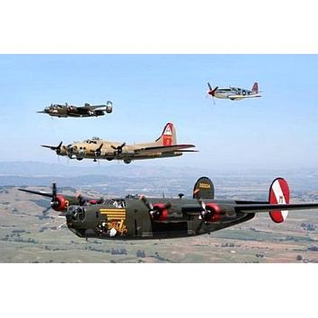 WW2 Airplane Formation Military Aviation poster Metal Sign Wall Art 8in x 12in