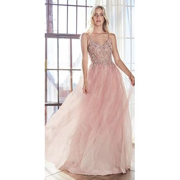 Long A-Line Gown Blush Layered Sparkle Tulle Skirt Beaded Bodice