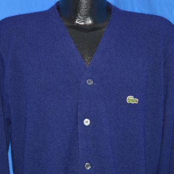 60s Izod of London Lacoste Navy Blue Cardigan Sweater Medium