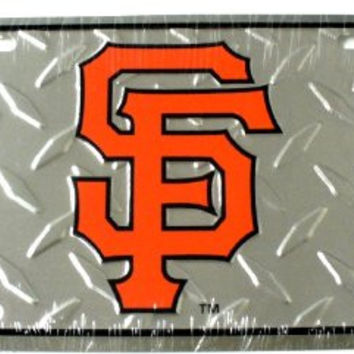 "Baseball San francisco Giants Diamond Cut 6"" x 12"" Embossed Aluminum License Plate"