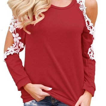 Mode Lace Trim Cold Shoulder Red Long Sleeve Top