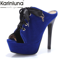KARINLUNA Brand Design Big Size 34-43 Peep Toe Thick Platform Women Mules Pumps Sexy Super High High Heels Party Shoes Woman
