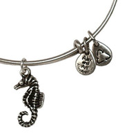 Alex and Ani Seahorse Expandable Wire Bangle Rafaelian Silver