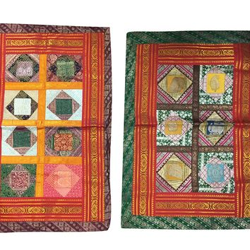 "Colorful Sofa Pillow Covers Vintage Sari Border Ethnic Bohemian Pillow Cases 30""X 20"""