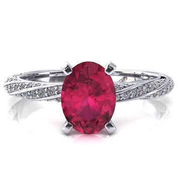 Elysia Oval Ruby 4 Prong 3/4 Eternity Diamond Accent Ring