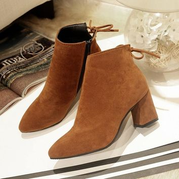 2018 Women Boots Flock Ankle Boots Pointed Toe Winter Women Boots Ladies Thcik Heel Western Stretch Fabric Shoes Big Size 34-45