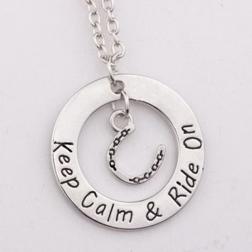 "12pcs/lot new arrive""Keep Calm Ride On Necklace"