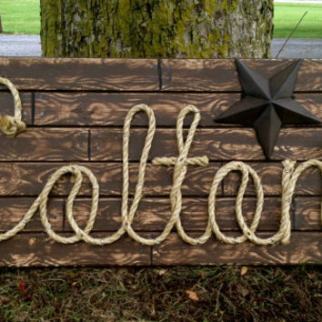 "COLTON: 32"" Western Rope Name Sign Cowboy Theme Room Nursery- Brown Wood Grain Finish- (003)"