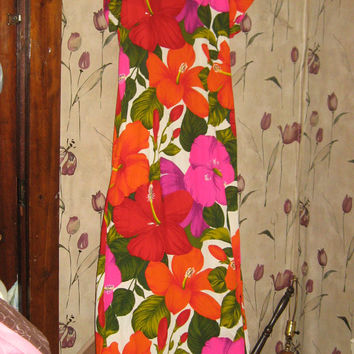 1970s  retro  PACIFIC  Isle Hawaii  maxi  DRESS    size 14
