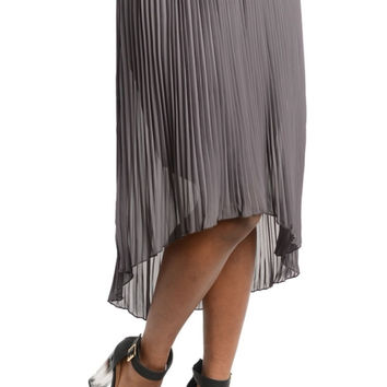 Pleated High Low Chiffon Skirt
