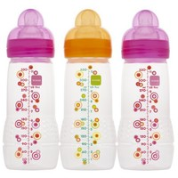 MAM Triple Pack Baby Bottle, 4 Months, 11 Ounce, Colors May Vary