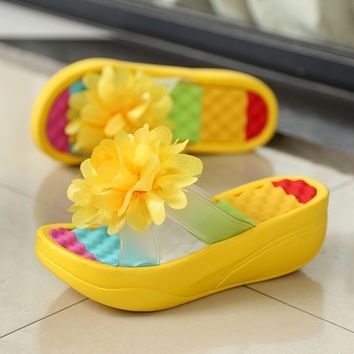 3.29spuer deal 2016 High Quality Summer Beach Flowers Flip Flops Bohemia Swing Wedge sneakers Sandals Slippers Women High Heels