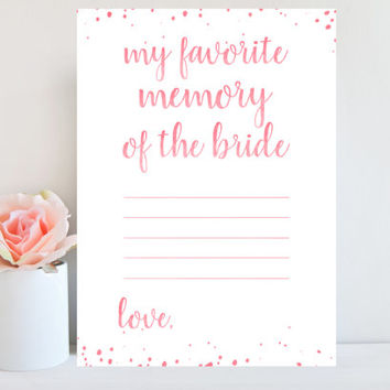 Pink Bridal Shower Games, Favorite Memory of the Bride, Pink Confetti, Bridal Shower Games Watercolor, Pink Bridal Printable, Wedding BRSG3