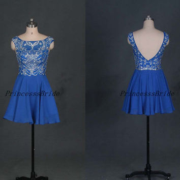 2014 short royal blue chiffon prom dresses with rhinestons,best cheap beaded homecoming gowns in blue,chic dress for holiday party.