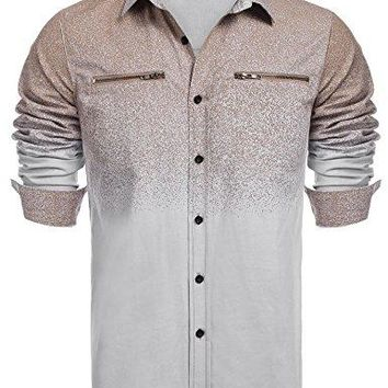 Coofandy Men's Long Sleeve Oxford Shirt,Western Style Printed Button Down Shirts With Zipper Pockets