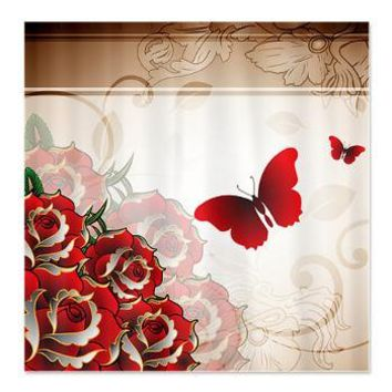 Rich Red Roses Shower Curtain Curtains GetYerGoat