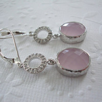 Preppy Pastel pink jewelry Rhodium dangle earrings with hammered bezel pink opal glass Wedding jewelry, Bridesmaid gift