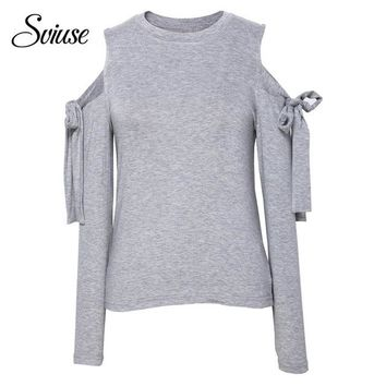 Female Autumn Sexy Bandage T-Shirt Gray Hollow Out Off Shoulder O-Neck Long-Sleeve Bow Lace Up Tees Fashion Harajuku Street Tops