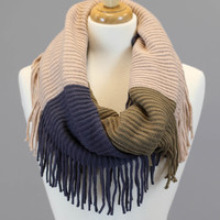 Color Block Fringe Scarf