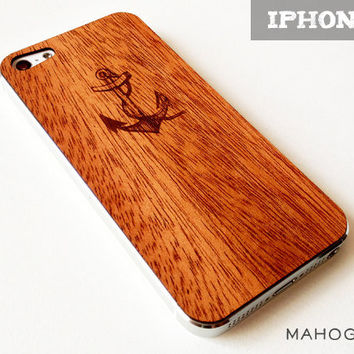 Anchor & Rope Etching on Real Wood iPhone 5 Skin Cover