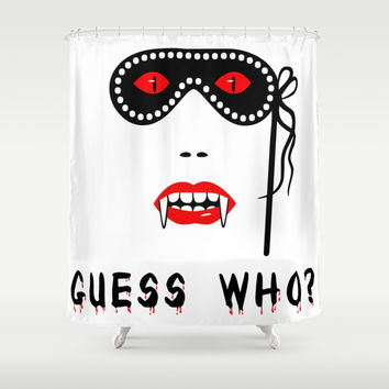 Halloween Guess Who Vampire Beauty Shower Curtain by digital2real